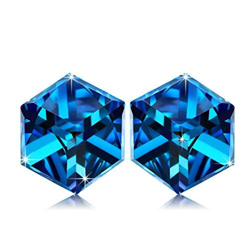 b72cd590196c Alex Perry Te Engancho Plata de Ley 925 Pendientes Aretes Mujeres Azul Cubo  Cristales Swarovski Mujer