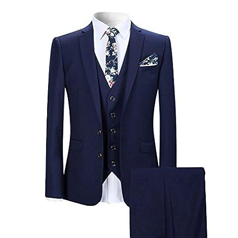 Costume Homme Formel Slim Fit trois-pièces d'affaire Mariage Business Blazer unie boutons Elégant Classique