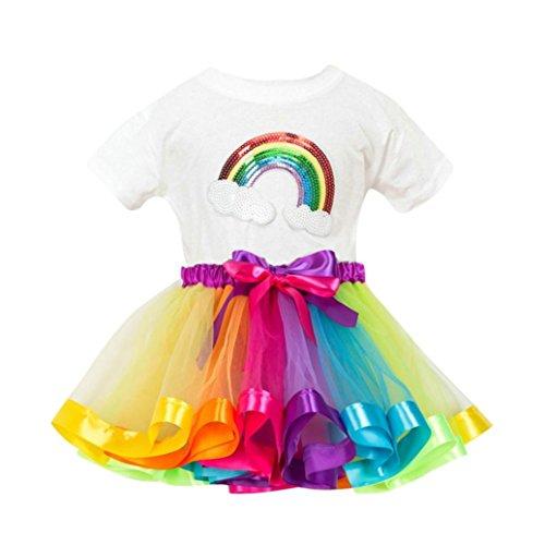 JERFER Rainbow Kostüm Rock Kinder (3T-9T) Mädchen Tutu Tüll Party Tanz Ballett Kinder