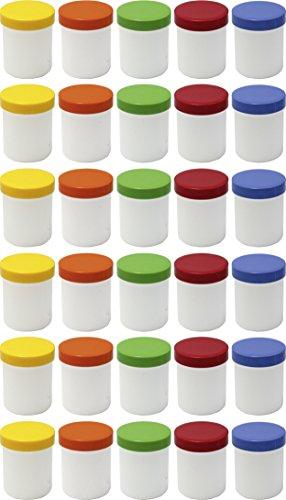 30 Salbendöschen, Creme-döschen, Salbenkruke hoch, 25ml Inhalt mit farbigen Deckeln - MADE IN GERMANY