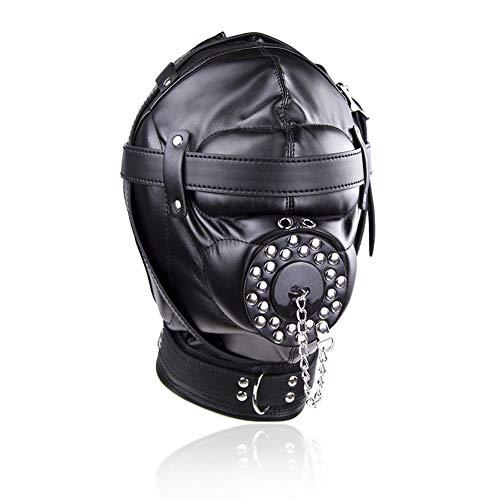Halloween-Leder-Kopfbedeckung – bedeckt Kopfbedeckung – Rückenbinde verstellbar (schwarz)