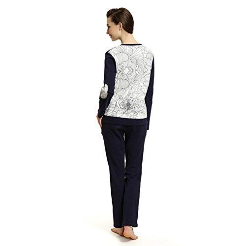 CHUNHUA Frau stricken lässig Pyjamas Sport Langarm-Trainingsanzug Blue