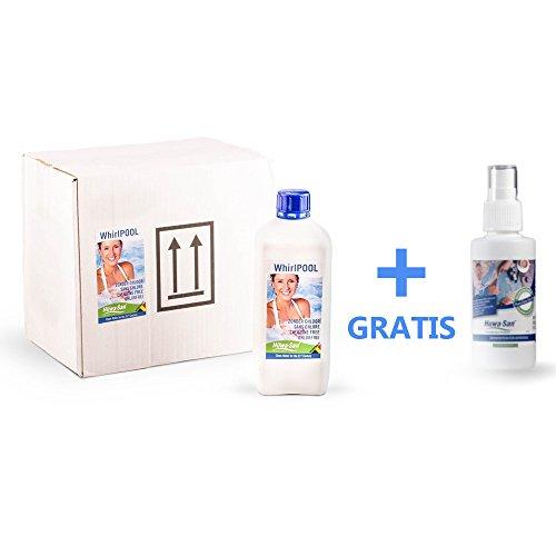 Huwa-San WhirlPOOL chlorfreie Wasserpflege und Desinfektionsmittel mit stabilisiertem Aktivsauerstoff (6 x 1L für 9m²) + Gratisflasche Huwa-San Travel