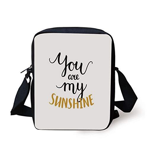 Quotes Decor,Big Font Classic Romantic Partners Phrase Soul Mates Calligraphy Image,Mustard Black Print Kids Crossbody Messenger Bag Purse Mate, Camo