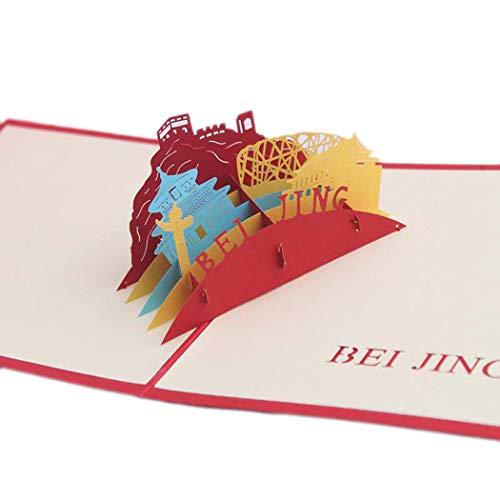 Yftm-mk cartolina d'auguri 3d stereo biglietto di auguri fatto a mano regalo di compleanno di pechino natale di nozze regalo di capodanno di natale vigilia di natale,1