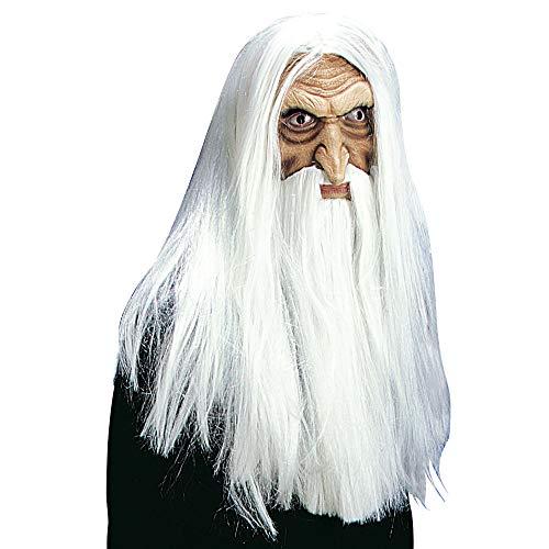 Kostüm Magician Fancy Dress - Zauberer Halloween Maske mit Haaren und Bart Magier