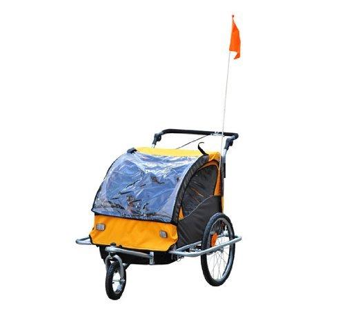HOMCOM 360° Drehbar Kinderanhänger 2 in 1 Fahrradanhänger Jogger 5 Farben (Orange-Schwarz)