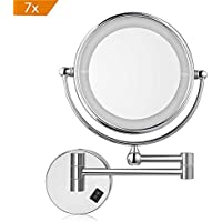 Amzdeal Espejo de aumento de pared, Espejo tocador, Con luz LED, 7x Aumento, Doble cara giratoria de 360 °, Fácil de instalar
