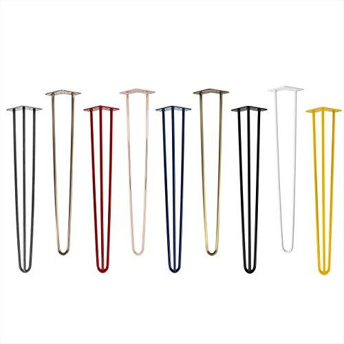 4x Natural Goods Berlin Hairpin Leg Tischbeine |12mm Stahl | viele Farben | alle Größen | 50cm/2 Streben (Schwarz)