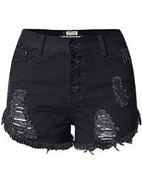 Blansdi Damen Mädchen Frauen Sommer Sexy Taille Distressed Ripped Gewaschene Jeans Boyfriend Dünn Denim Kurze Hose Loch Jeanshose
