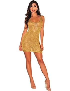 Moda Vestido | Vestido para mujer Las mujeres en Europa y América | oro rosa vestido tejido | Cintura V Ultra...