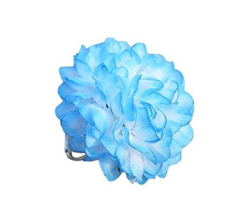 4 morceaux de bijoux faits à la main créative Bague fleur bleu clair réglable