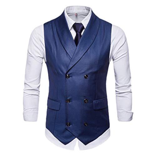 CuteRose Mens Original Fit Notched Collar Slim Double Breasted Dress Waistcoat Blue L Blue Stripe Bow Tie