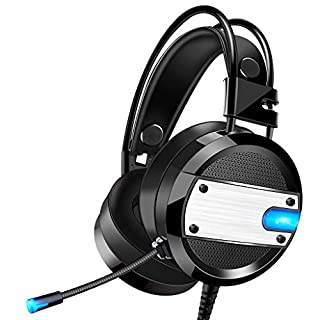 AutumnFall USB 3.5mm Surround Stereo Gaming Headset Headband Headphone with Mic for PC Hot Light-Emitting Headphone with Headset (Black)