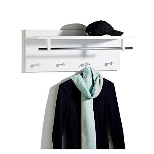 Wandgarderobe Garderobe ULF mit Kleiderhaken Hutablage Kleiderstange, in weiß