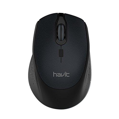 HAVIT Funkmaus 2.4G 2000 DPI 4 Tasten Kabellose Maus mit USB Nano Empfänger, 36 Monate Batterielaufzeit Optische Maus für PC/Tablet/Laptop/MacBook/Microsoft Pro (Schwarz)