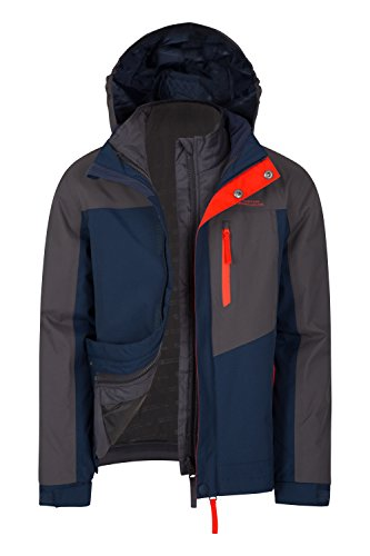 Mountain Warehouse Compass Wasserdichte 3-in-1-Kinderjacke mantel + Fleece Regenschutz Funktionsjacke Doppeljacke Winterjacke Grau 140 (9-10 Jahre)