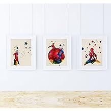 PACK de láminas para enmarcar EL PRINCIPITO. Posters estilo acuarela con imágenes del principito. Decoración de hogar. Láminas para enmarcar con imágenes de cuentos infantiles. Papel 250 gramos alta calidad