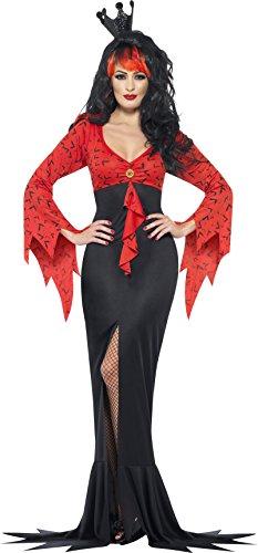 Smiffys Disfraz de Reina Malvada, con Vestido con Estampado de murciélagos