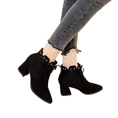 MYMYG Stiefel Damen Leder Schnürschuhe Klassische Boots Frauen Retro Quaste Schuhe Leder Spitz Dicke Wildleder Toe Lace Up Stiefel Motorradstiefel Rutschfeste ()