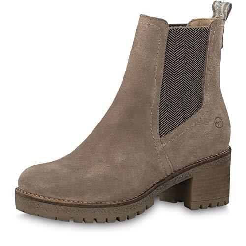 Tamaris Damen Stiefeletten 25936-33, Frauen Chelsea Boots, weibliche Ladies feminin elegant Women\'s Women Woman Freizeit leger,Taupe,40 EU / 6.5 UK