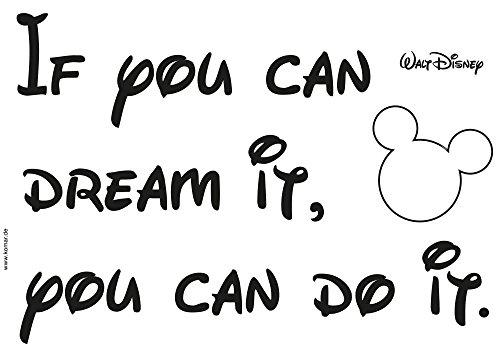Komar - Disney - Deco-Sticker YOU CAN DO IT - 50 x 70 cm - Wandtattoo, Wandbild, Wandsticker, Wandaufkleber, Micky Maus, Zitat, Spruch, Dream - 14002h, Schwarz