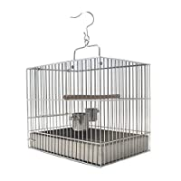 Zunruishop Cottages Bird House Stainless Steel Bird Cage Bathing Cage Parrot Bird Cage With Handle and Hook Bird Bath Cage 3 Sizes To Choose From Birdhouses/Bird Nest