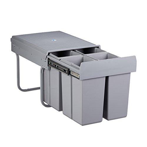 Relaxdays Mülltrennsystem 4-Fach, HxBxT: 48 x 34 x 35,7 cm, ausziehbar, 4 Eimer, 32 Liter, für Biomüll, Kunststoff, grau
