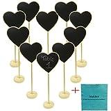 makhry Lot de mariage Party Favor Mini Coeur Tableau Noir avec Support Pour numéro de table de Prix Étiquette Message Board en place carte étiquette (Burly Bois)