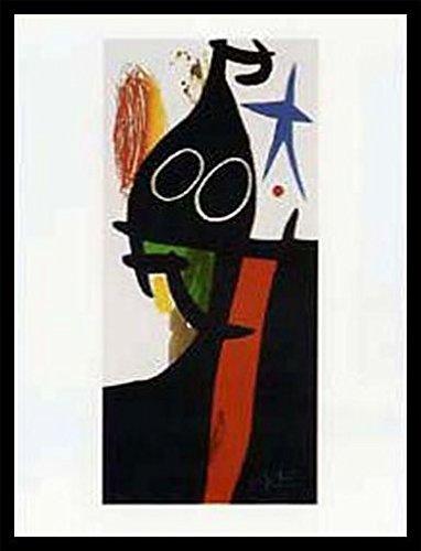 Joan Miró Poster Kunstdruck und MDF-Rahmen Schwarz - Der Sarazene Mit Dem Blauen Stern (80 x 60cm)