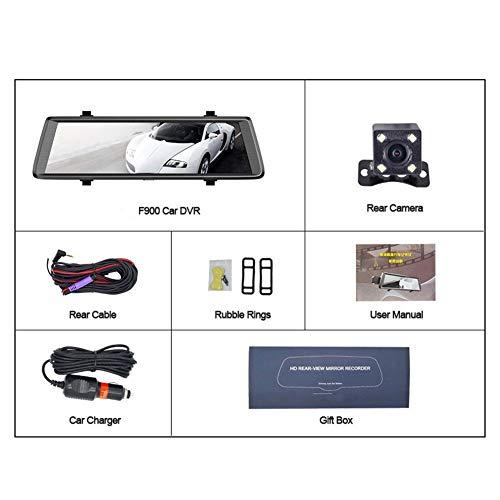 Simshew Neue Autokamera Neutral 10 Zoll Android Touchscreen Auto DVR Rückspiegel Dual Lens Black Box FHD 1080P Fernüberwachung Automobile Data Recorder mit Rückfahrkamera F900