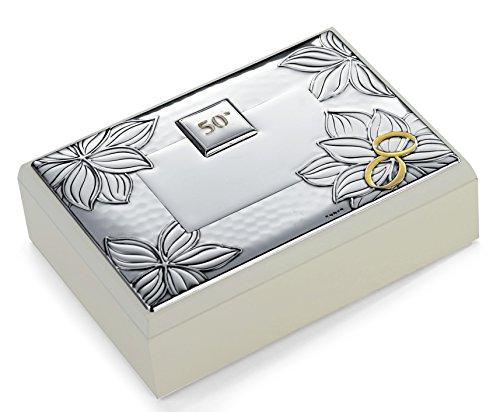 Coffret Fleur 50 ° anniversaire mariage noces d'or cm 11 x 16 H.4,5 Bi laminé argent Made in Italy Finition
