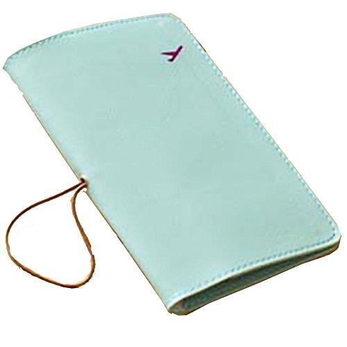 De cuero del pasaporte del recorrido Holder, carpeta de la tarjeta de la cubierta del protector (Verde claro)