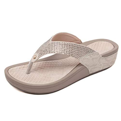 Frauen Peep-Toe- Flache Flip-Flops Sommer Blumen Perlen Pailletten Schuhe Damen Keil Plattform Slingback Hausschuhe -