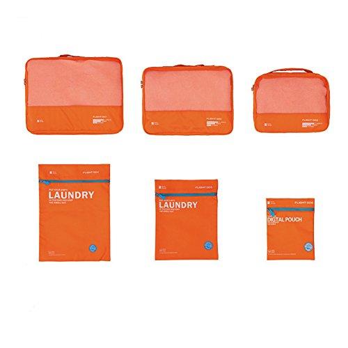 Qearly Mode Packwuerfel Set Packtaschen Organizer Reisegepaeck Beutel Reise Kleidertaschen Fuer Koffer-Orange