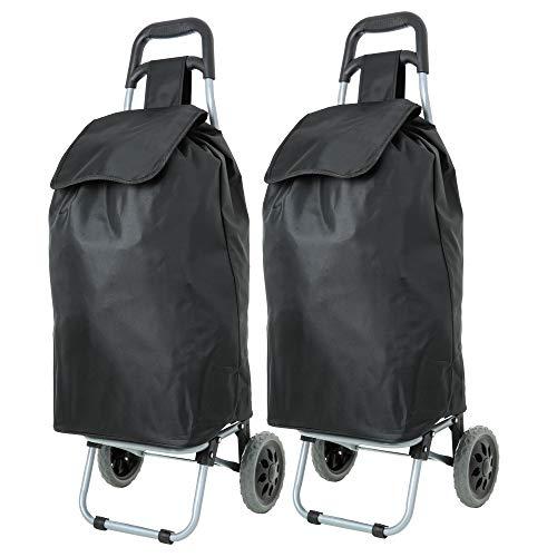EONO Essentials 47L leichter faltbarer Shopping Trolley, Einkaufstrolley, 2er Set, schwarz