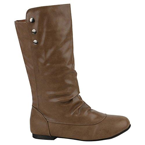 Braune Stiefel Frauen (Stiefelparadies Flache Damen Stiefeletten Nieten Stiefel Leder-Optik Schuhe 151934 Khaki Zierknöpfe 38 Flandell)
