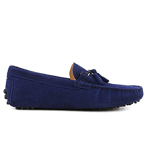 Shenduo - Mocassins pour homme cuir - Loafers confort - Chaussures de ville D7157 Bleu