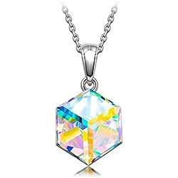 Collar de plata de ley con colgante geométrico y cristal de Swarovski