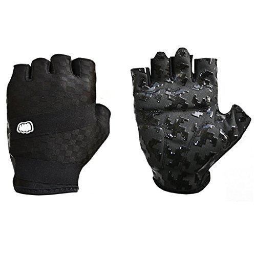 Yihya Lycra Atmungsaktiv Outdoor-Sportarten Handschuhe Racing Radfahren Motorrad Fahrrad Half Finger Fingerlose Handschuhe --- black - XL (Lycra Eis)