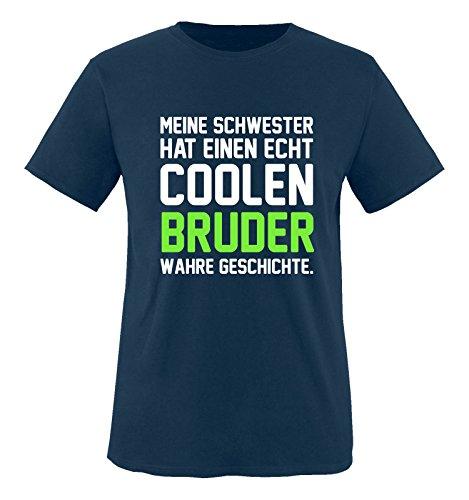 Comedy Shirts – Meine Schwester hat einen echt coolen Bruder wahre Geschichte. – Jungen T-Shirt – Navy/Weiss-Neongrün Gr. 152/164