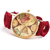Ladies Unique World Map Wristwatch Hand Crochetted Bracelet Watch Elegant Christmas for women