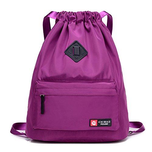 Risefit Wasserdichte Turnbeutel Multifunktionale Sporttasche Gymbag mit Innen- und Front Tasche Hipster Fashion Rucksack für Reise, Fitness, Schule für Damen und Studenten