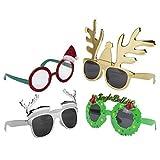 Paquete de 4Varios Novedad Navidad Revestimiento plástico Gafas