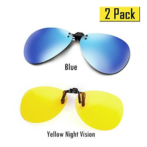 Cyxus Polarisations Brillen Polarisierte verspiegelt Linsen Classic Sonnenbrillen Clip-On Korrekturbrillen [Anti-Glare] [UV Schutz] Fahren / Fischen Eyewear, Men & Women (2 pack)