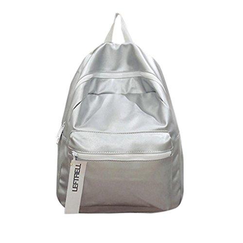 QMBER Handtaschen Damen, Damen Leder Einfacher Rucksack Mode (Silber)