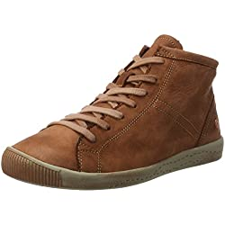 Softinos Damen Isleen Washed Hohe Sneaker, Braun (Brick), 41 EU