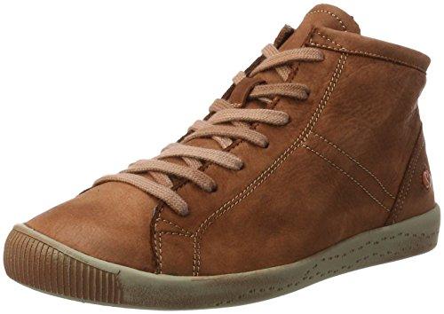 Softinos Damen Isleen Washed Hohe Sneaker, Braun (Brick), 38 EU (Gewaschen-leder-schuhe)