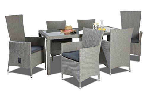 garten e tischgruppe Hochwertige Garten Tischgruppe bestehend aus einem Tisch und sechs Stühlen Polyrattan mit rostfreiem Alugestell Gartenstuhl Sessel Rattan Stuhl Gartenstühle Gartenmöbel