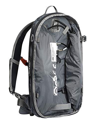 ABS Unisex - Adulti Zaino da valanga Base Unit, Twinbags per Una Maggiore Sicurezza, Utilizzabile con S.Light + P.Ride Compact Zipons e unità di azionamento in Carbonio o Acciaio, Rock Grey One Size